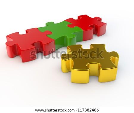 unique gold puzzle at a background the multi-colored - stock photo