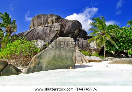 unique granite rocky beaches of Seychelles - stock photo