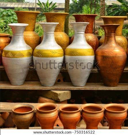 Unique Handmade Colorful Ceramic Vases Clay Stock Photo Edit Now