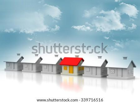 Unique house on sky background  - stock photo