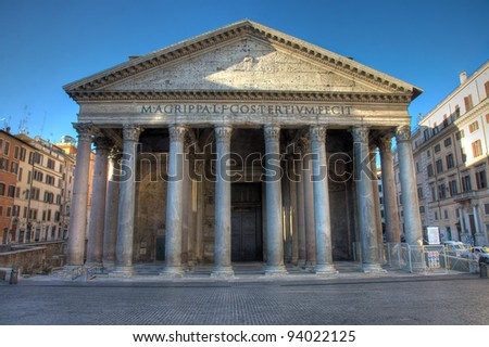 Unique image of the Pantheon in Rome, showing the facade of the monument in the early morning without tourists