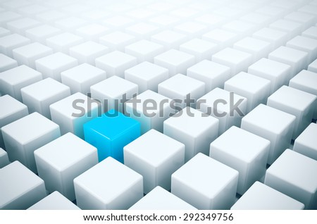 Unique in the crowd - alone blue box in white boxes crowd - stock photo