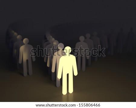 Unique luminous man. Conception of leadership - stock photo
