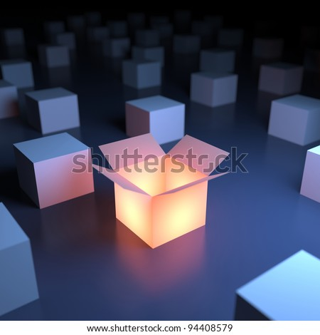 Unique luminous opened box. 3d abstraction