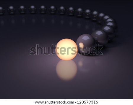 Unique luminous sphere. Leadership concept. 3d illustration with DOF - stock photo