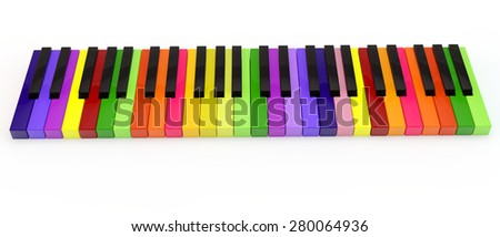 unique multi-colored keys of the classical keyboard of a piano - stock photo