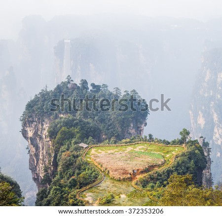 Unique peasant farm on the top of pillar mountain (Avatar rocks). Zhangjiajie National Forest Park was officially recognized as a UNESCO World Heritage Site - China   - stock photo