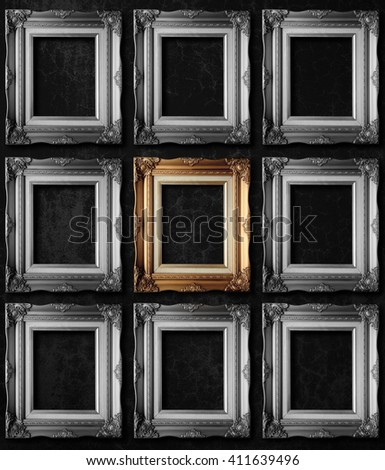 Unique Photo art gallery on vintage wall individuality and difference concept - stock photo