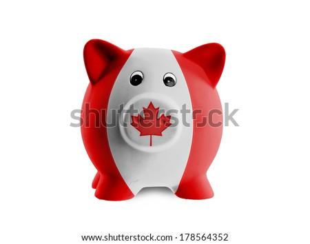 Unique pink ceramic piggy bank isolated, Canada - stock photo