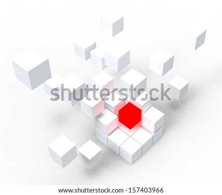 Unique Red Block Showing Standing Out And Different - stock photo
