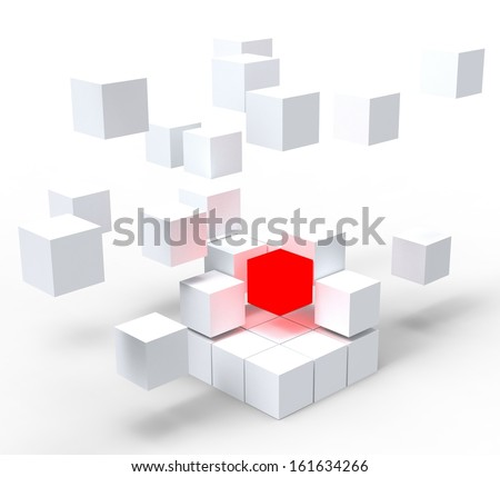 Unique Red Block Shows Standing Out And Different - stock photo