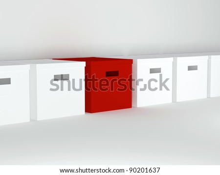 Unique red box in row with other boxes, render