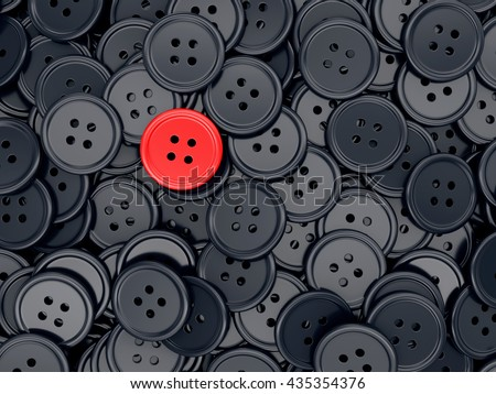 Unique red clothing sewing button among many dark ones. Standing out from crowd, individuality and difference concept. 3D illustration - stock photo
