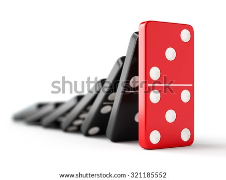 Unique red domino tile stops falling black dominoes. Leadership, teamwork and business strategy concept. - stock photo