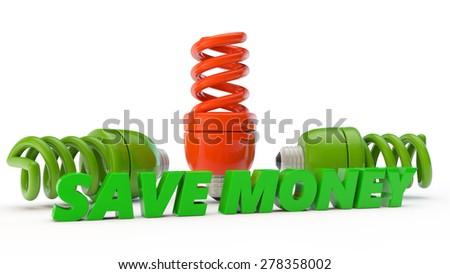 unique red economic lamps and inscription save money - stock photo