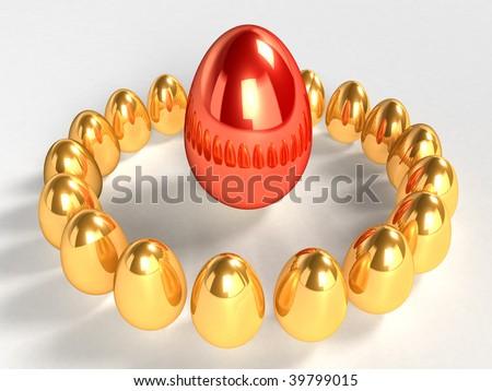 Unique red egg - stock photo