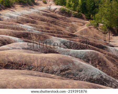 Unique red soil formation at the Cheltenham Badlands near Toronto, Ontario, Canada - stock photo