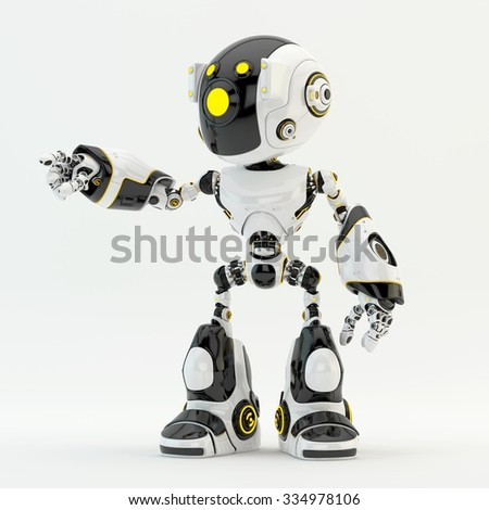Unique robot character robot pointing - stock photo