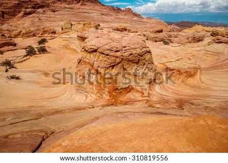 Unique sandstone in desert, The Wave Arizona  - stock photo