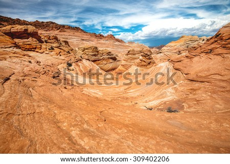 Unique sandstone on the mountain, The Wave Arizona  - stock photo