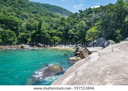 Unique secret beach at Ilha Grande tropical Island. Riod do Janeiro, Brazil. Paradise at South America. - stock photo