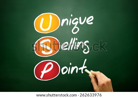 Unique Selling Point (USP), business concept acronym on blackboard - stock photo