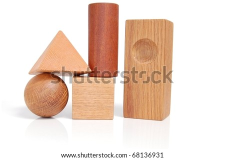 Unique Set of Wooden Blocks On White with Reflections - stock photo
