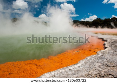 Unique steaming spring champagne pool in Wai-O-Tapu geothermal area, Rotorua, New Zealand  - stock photo