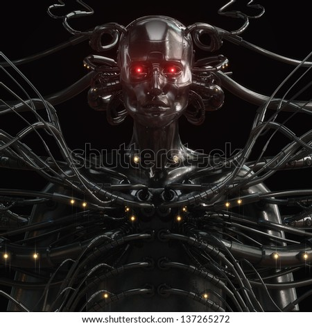 Unique steel cyborg with metal cables isolated on black / Stylish wired cyber man - stock photo
