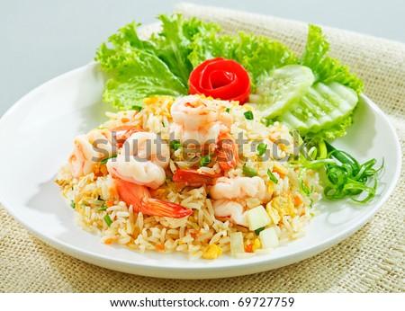 Unique style Thai shrimp fried rice serves on the dish the image isolated - stock photo