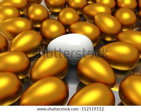 Unique white egg among golden eggs - stock photo