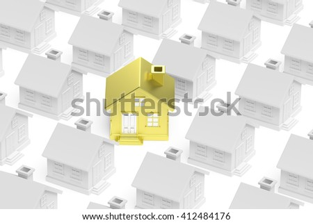 Uniqueness, individuality, real estate business creative concept - golden unique house stand out from crowd of gray ordinary houses, 3d illustration - stock photo