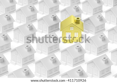 Uniqueness, individuality, real estate business creative concept - golden unique house standing out from crowd of gray ordinary houses and look at you 3d illustration - stock photo