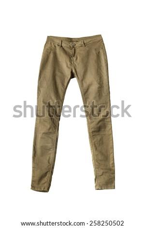 Unisex khaki pants on white background - stock photo