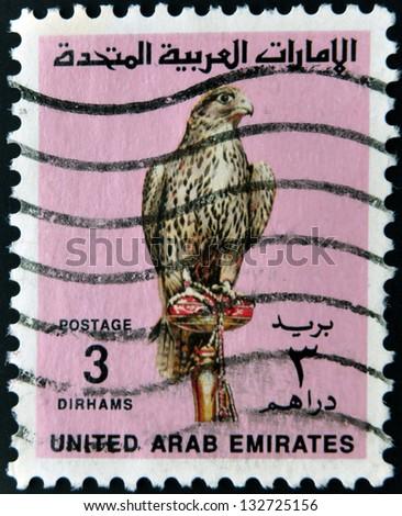 UNITED ARAB EMIRATES - CIRCA 1987: A stamp printed in the United Arab Emirates (UAE) shows image of a bird of prey, circa 1987 - stock photo