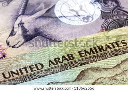 United Arab Emirates dirham banknotes in closeup. - stock photo
