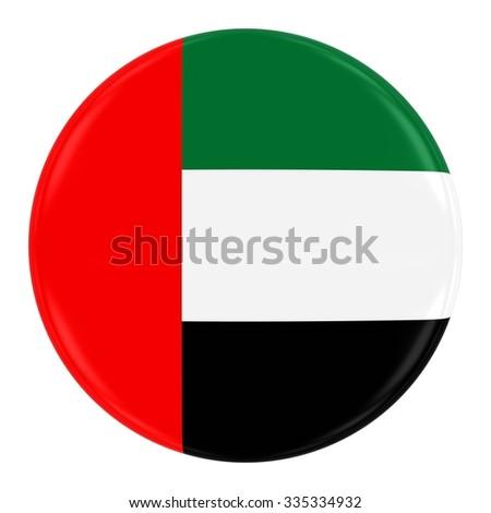 United Arab Emirates Flag Badge - Flag of the UAE Button Isolated on White - stock photo