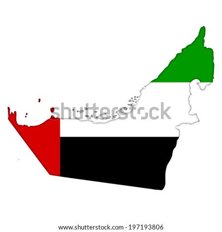 United Arab Emirates flag icon map - stock photo