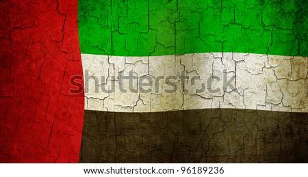 United Arab Emirates flag on a cracked grunge background - stock photo