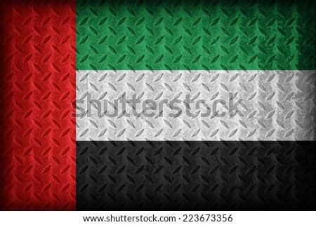 United Arab Emirates flag pattern on the diamond metal plate texture ,vintage style - stock photo
