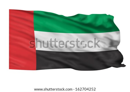 United Arab Emirates flag waving in the air.