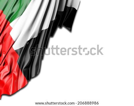 United Arab Emirates Flag with white - stock photo