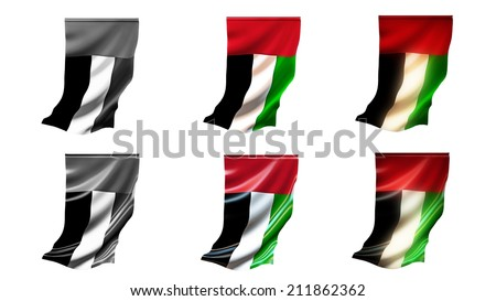 united arab emirates  flags waving set 6 in 1 vertical styles - stock photo
