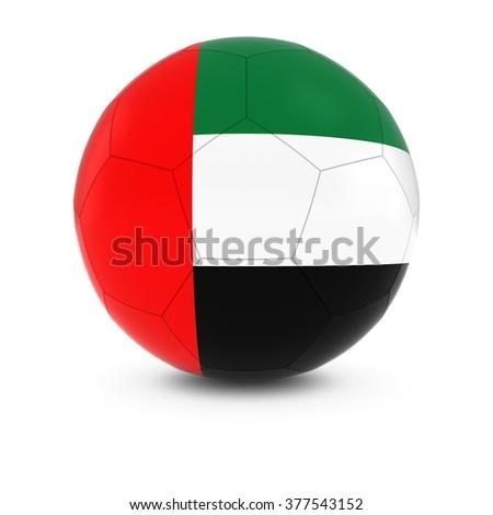 United Arab Emirates Football - Emirati Flag on Soccer Ball - stock photo