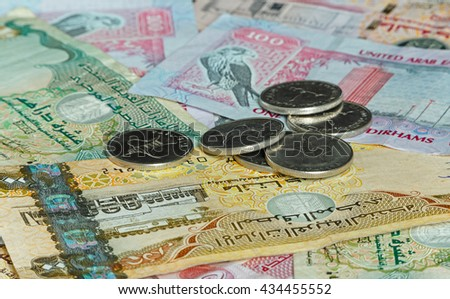 United arab Emirates money: coins on banknotes
