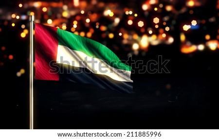 United Arab Emirates National Flag City Light Night Bokeh Background 3D - stock photo