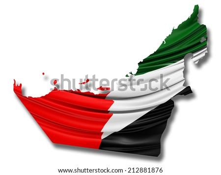 United Arab Emirates state Flag with white - stock photo