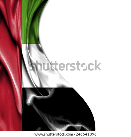 United Arab Emirates waving silky flag isolated on white background - stock photo
