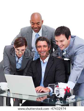 United business team working at a computer against a white background