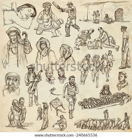 United Colors of Human Race - NATIVES - Collection (no.16) of an hand drawn illustrations. Description: Full sized hand drawn illustrations drawing on old paper. - stock photo